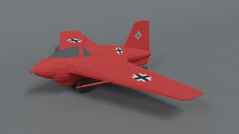 Low Poly Cartoon Messerschmitt Me 163 Komet Airplane