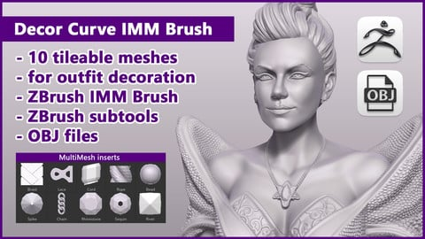 Decor Curve IMM Brush / ZBrush files+OBJ files
