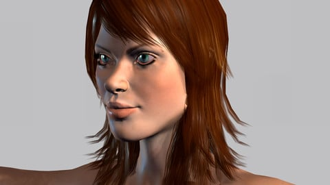 Animated Naked woman-Rigged 3d game character Low-poly 3D model