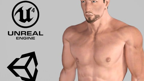 Animated Naked Man for Unreal - Rigged 3d game character Low-poly 3D model