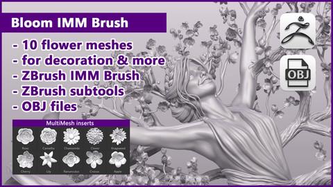 ZBrush Bloom IMM Brush / ZBrush files+OBJ files