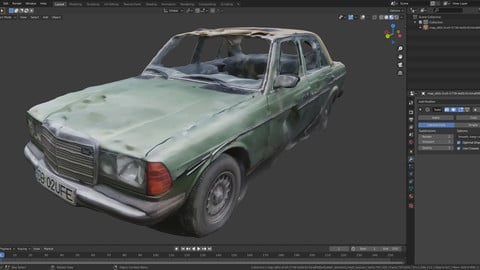 Abandoned car photoscanned with 8k texture LOW-POLY and game ready