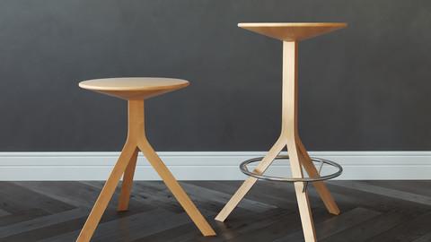 Alison Brooks Kitchen Stool + 3D Model (3DsMax 2016, Vray, Corona, FBX, Obj)
