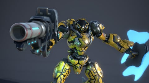 Big Yellow Robot with gun and shield (Unity Assets)