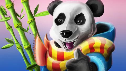 Funny panda with bamboo at sunset.