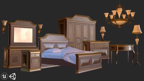 Vintage Furniture Bedroom Pack PBR Game Ready