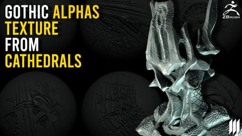 50 + Gothic Alphas Textures From Cathedrals - Zbrush/Substance Painter/Blender