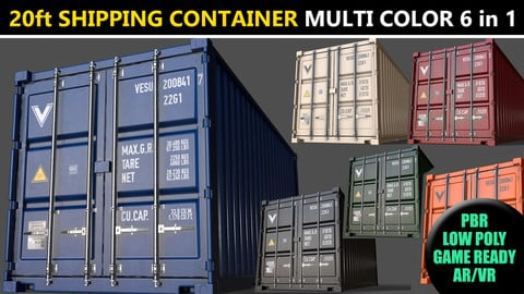 PBR 20 ft Shipping Cargo Container - Multi color Pack