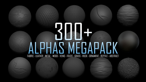 300+ Alphas Megapack (ZBrush, Substance, 2K, PSD)