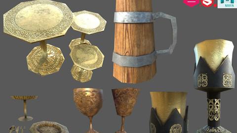 Low poly banquet utensils bundle.