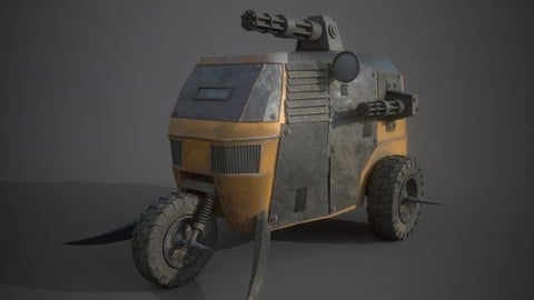 Post Apocalyptic Monster Tricycle Low-poly 3D model