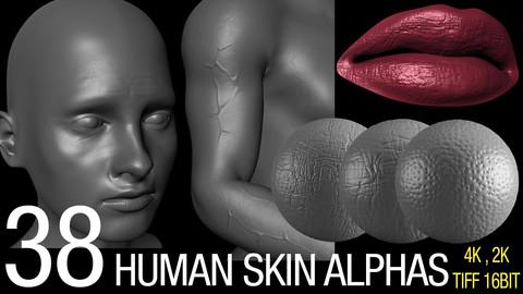 38 human skin alphas 4K & 2K