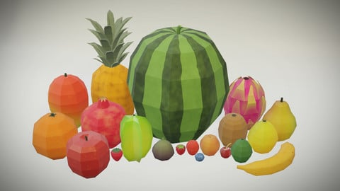 20 Fruits - Low Poly, Flat Shaded