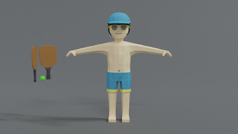 Low Poly Cartoon Summer Guy