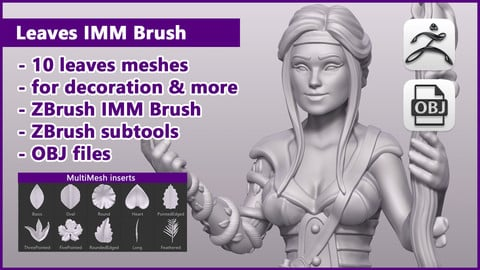 ZBrush Leaves IMM Brush / ZBrush files + OBJ files