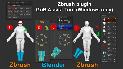 GoB Assist Tool (Transferring meshes from/to Zbrush/Blender and replace Subtool while keeping the history.)