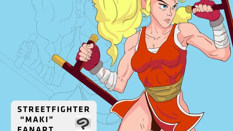 """Street Fighter """"Maki"""" Fanart Process breakdown"""