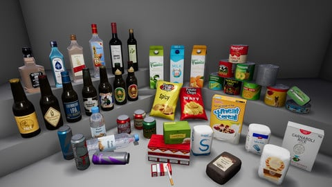 [UE4] Supermarket Product - Food and Drinks