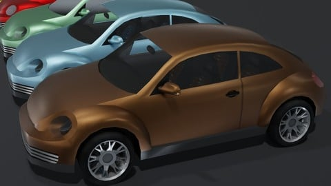 Generic Compact Car With Interior Lowpoly 3D Model