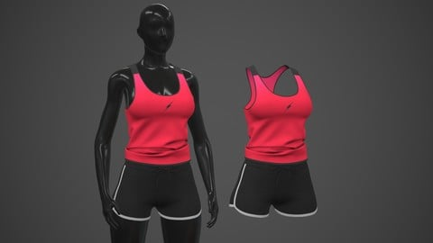 Female Sportswear gym clothing 2 PBR Low-poly