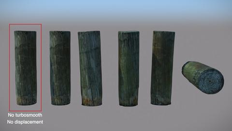 Wood Bollard Photoscan - Low Poly