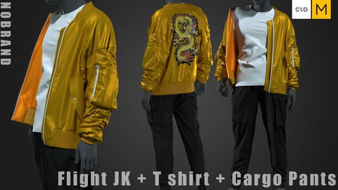 Mens - Flight JK + Tshirt + Cargo Pants