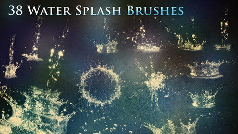 38 Water Splash Brushes & PNGs