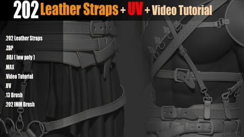 202 IMM Brush Leather Straps_Vol 02 + UV + Video Tutorial