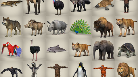 3D Low Poly 32 Animal Collection