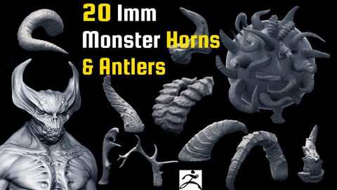 20 Imm Monster Horns and Antlers for Zbrush and in OBJ format