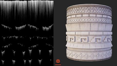 Substance Designer Leaking Generator and ancient maya style Trimsheet