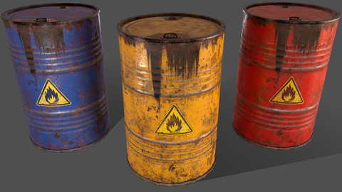 PBR Oil Drum Barrel A4 - Flammable Explosive Chemical