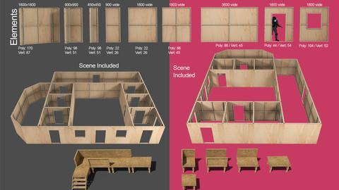 Partition wall element kit for construction site 3d models etc