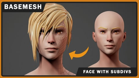 Stylized Anime Head Base Mesh