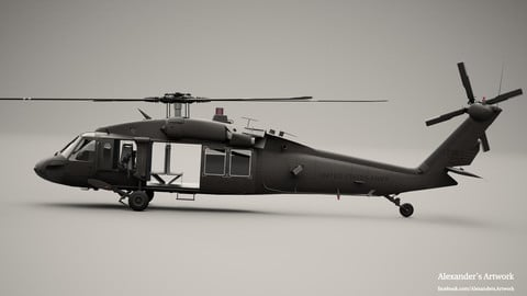 UH 60 D Blackhawk Helicopter - for Houdini 17.5 and 18 with optional Shader DLC for Redshift