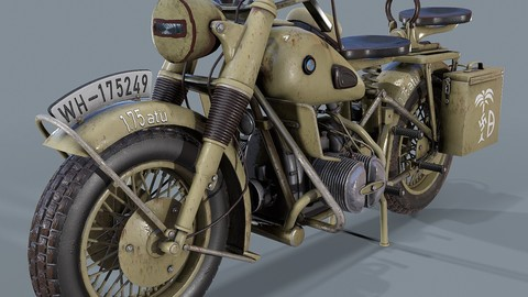 German motorcycle BMW R 75 WW2 3d model