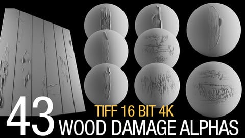 43 wood damage alphas (tiff 16 bit, 4K)