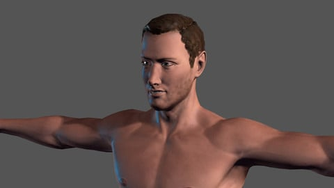Animated Naked Man-Rigged 3d game character Low-poly 3D model