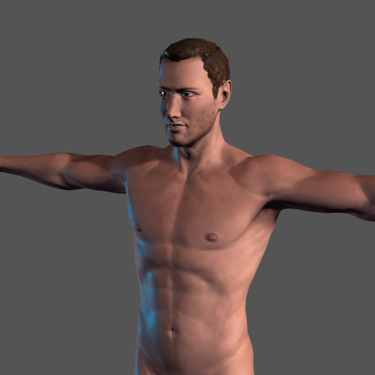 ArtStation - Animated Naked Man-Rigged 3d game character