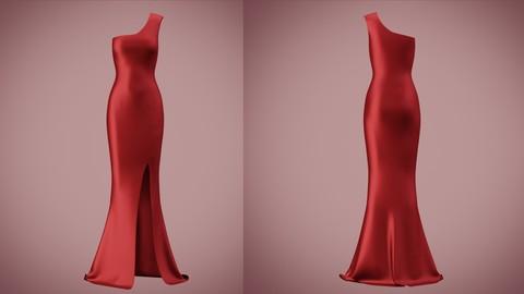 one shoulder red satin dress 3D Model