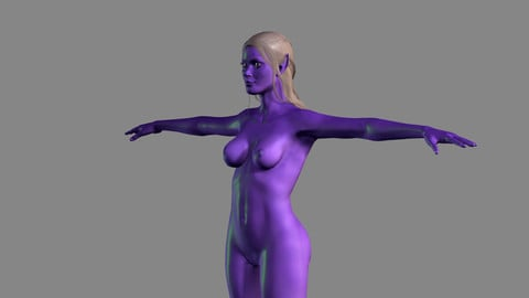 Animated Naked Elf Woman-Rigged 3d game character Low-poly 3D