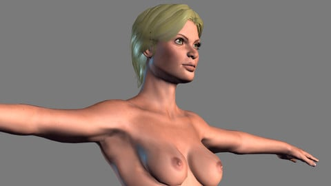 Animated Naked woman-Rigged 3d game character