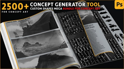 Concept Generator Tool [Custom shape Mega BUNDLE - 5200 pieces ] [Photoshop]