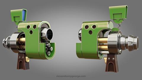 Green Gun (Sci-Fi) 3D Model with a UV Map