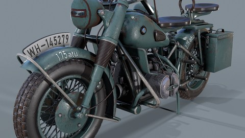 German motorcycle R 75 Schwarz Grau WW2 3d model