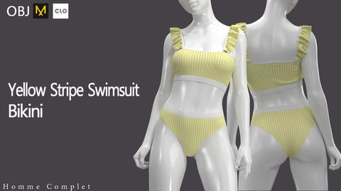 Womem's Yellow Stripe Swimsuit