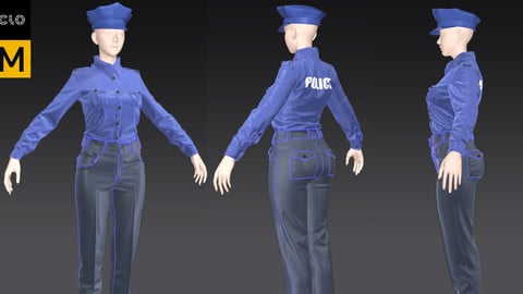 women s police  uniform TEBAO-BAF   security uniform safty uniform Marvelous Designer Project