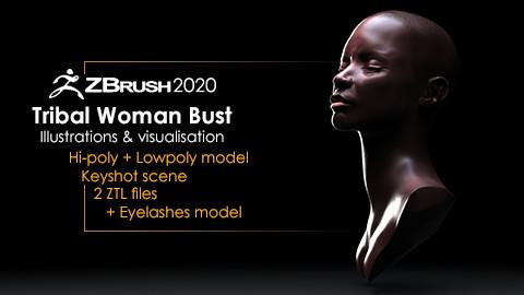 Tribal Woman Bust + Render Scene