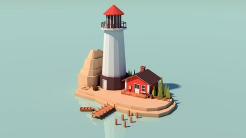 Lighthouse with tiny house