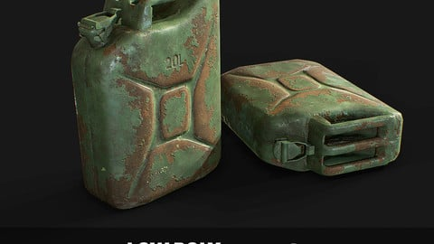 Steel Jerry Can Olive Green 20 Ltr Low-poly 3D model